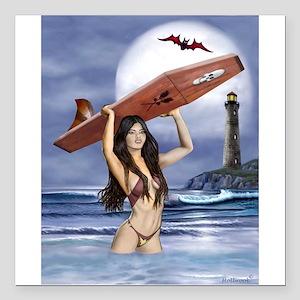 """Vampire Surfer Girl Square Car Magnet 3"""" x 3"""""""