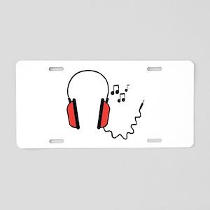 Musical Headphones Aluminum License Plate