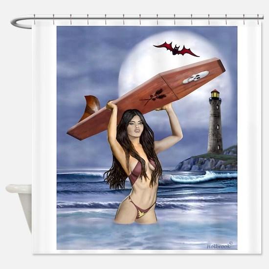 Vampire Surfer Girl Shower Curtain
