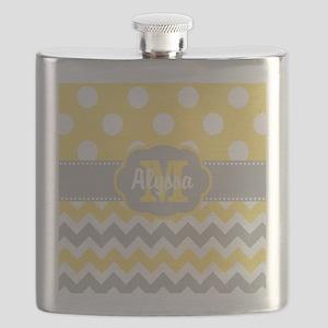 Yellow Gray Chevron Dots Personalized Flask