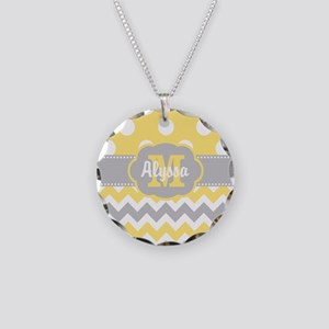 Yellow Gray Chevron Dots Personalized Necklace