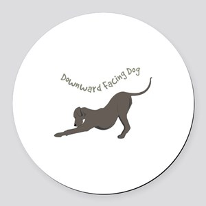 Downward Dog Round Car Magnet