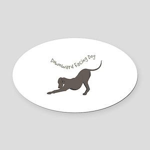 Downward Dog Oval Car Magnet