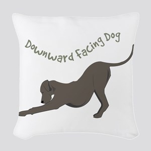 Downward Dog Woven Throw Pillow