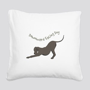 Downward Dog Square Canvas Pillow