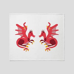Twin Dragons Throw Blanket