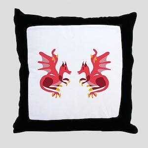 Twin Dragons Throw Pillow