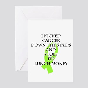 Cancer Bully (Lime Green Ribbon) Greeting Cards