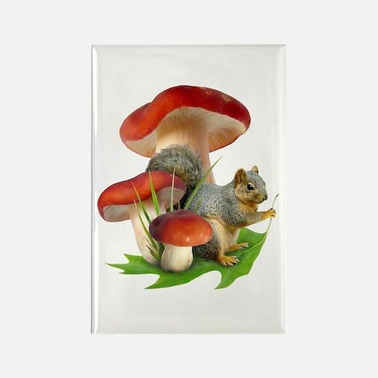Mushroom Squirrel Rectangle Magnet