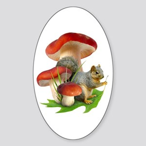 Mushroom Squirrel Sticker (Oval)