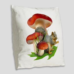Mushroom Squirrel Burlap Throw Pillow