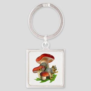 Mushroom Squirrel Square Keychain