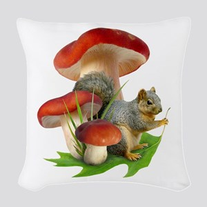 Mushroom Squirrel Woven Throw Pillow