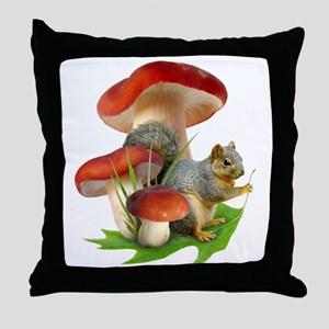 Mushroom Squirrel Throw Pillow
