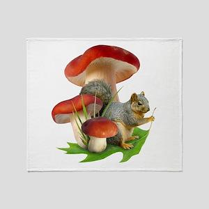 Mushroom Squirrel Throw Blanket