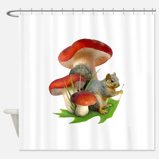 Mushroom Squirrel Shower Curtain