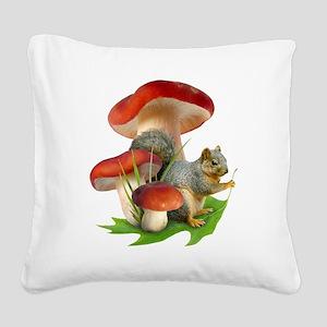 Mushroom Squirrel Square Canvas Pillow