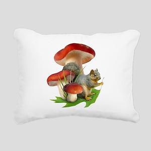 Mushroom Squirrel Rectangular Canvas Pillow