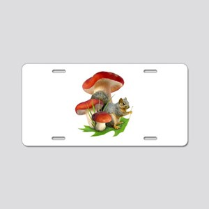 Mushroom Squirrel Aluminum License Plate
