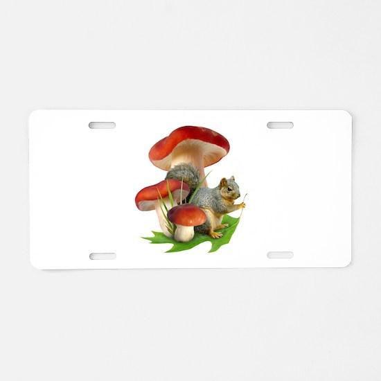 Mushroom Squirrel Aluminum License Plate