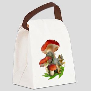 Mushroom Squirrel Canvas Lunch Bag