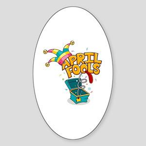Illustration Celebrating April Fool Sticker (Oval)