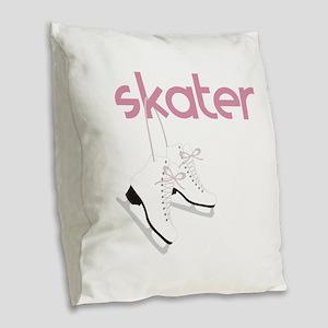 Skaters Skates Burlap Throw Pillow