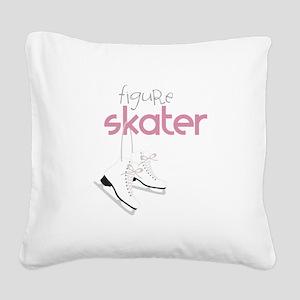 Figure Skater Square Canvas Pillow