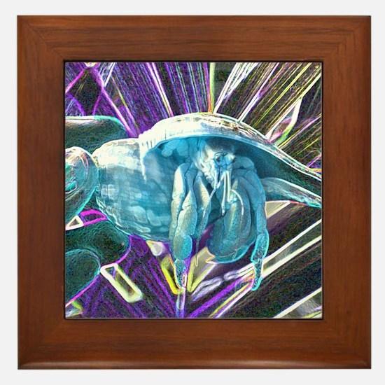 blue hermit crab Framed Tile
