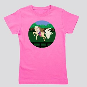Breast Cancer Awareness Race Horse  Girl's Tee