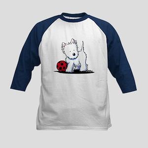 Westie & Ball Kids Baseball Jersey