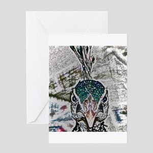 peacock sketch Greeting Cards