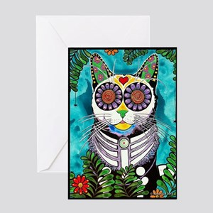 Sugar Skull Cat Greeting Card