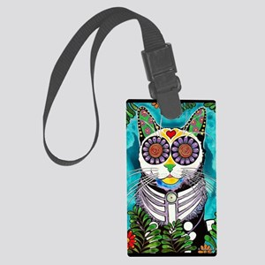 Sugar Skull Cat Large Luggage Tag