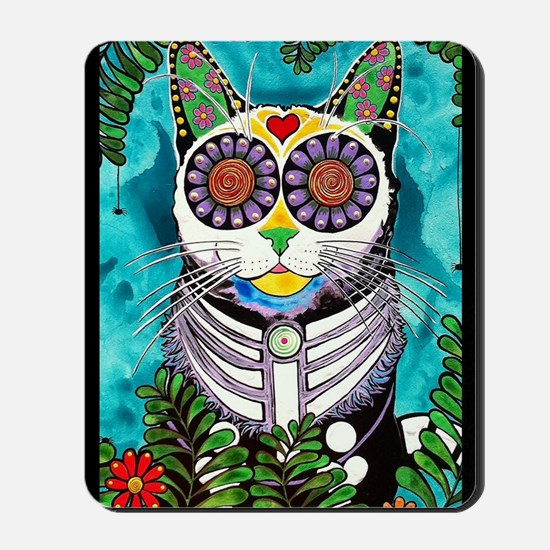 Sugar Skull Cat Mousepad