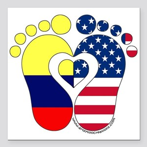 "Colombian American Baby Square Car Magnet 3"" x 3"""