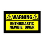 Warning: Newbie Diver 35x21 Wall Decal