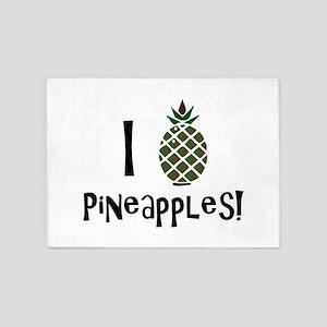I Love Pineapples 5'x7'Area Rug