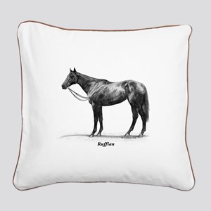 "Thoroughbred ""Ruffian"" Square Canvas Pillow"