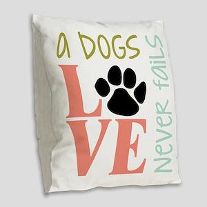 A Dogs Love Burlap Throw Pillow
