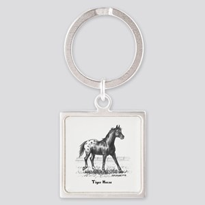 Tiger Horse Square Keychain