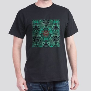 vintage bohemian grunge green abstract pattern T-S