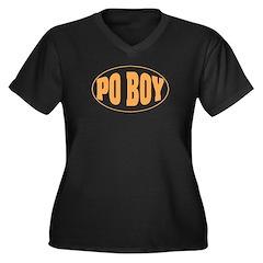 Po Boy Women's Plus Size V-Neck Dark T-Shirt