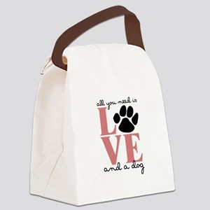Love And A Dog Canvas Lunch Bag