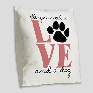 Love And A Dog Burlap Throw Pillow
