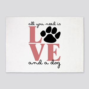 Love And A Dog 5'x7'Area Rug