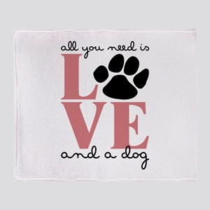 Love And A Dog Throw Blanket