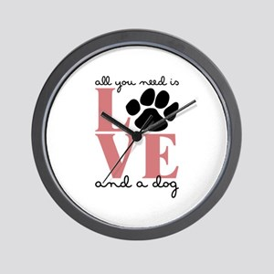 Love And A Dog Wall Clock