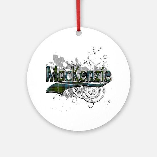 MacKenzie Tartan Grunge Ornament (Round)