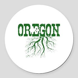 Oregon Roots Round Car Magnet